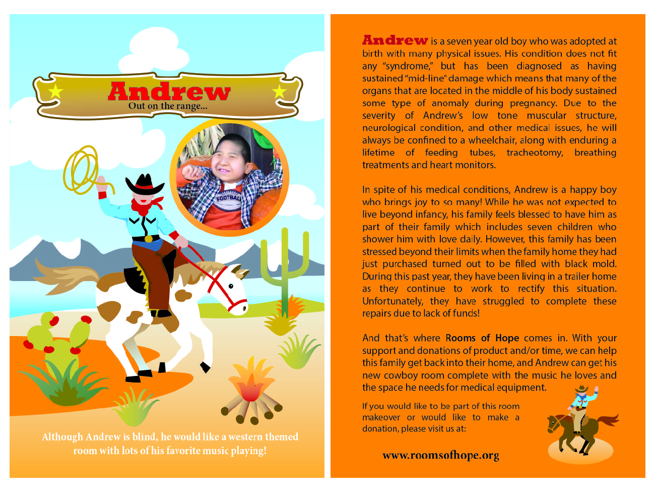 This is Andrew's postcard introducing him to the Rooms of Hope community.